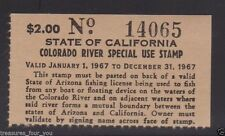 1967 State of California / Arizona Colorado River Special Use Fishing Stamp