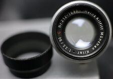 Heinz Kilfitt Kilar 90mm F3.5 Leica M39 Visoflex Screw Mount Prime Lens w/ Hood