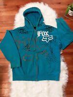 Vtg Fox Racing Jacket LG Hoodie Blue Jacket Zip Up