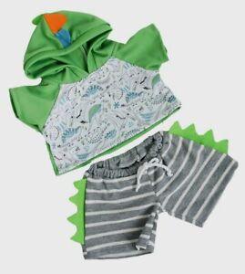 "Teddy Bear DINO HOODIE & SHORTS Dinosaur CLOTHES Fit 14""-18"" Build-a-bear !NEW!"