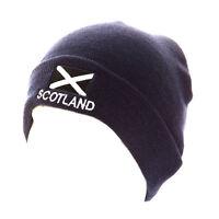 SCOTLAND HAT WITH SALTIRE FLAG DESIGN NAVY SCOTTISH SKI SKULL HAT NEW