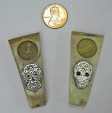 """Pair of  2"""" Soap Stone Pipes Flat Top with Mr. & Miss Sugar Skull Pewters"""