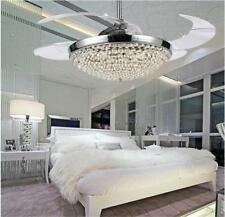 Crystal LED Ceiling Fans Chandelier Invisible Blades Lighting Light Ceiling Kits