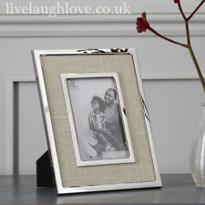"Chrome Metal & Fabric 4"" x 6"" Photo Frame - Natural"