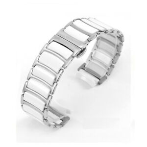 Ceramics Stainless Steel Watch Band Strap Metal Clasp Bracelet Replacement 20 22