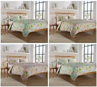 Fleur Floral Poly Cotton Reversible Duvet Quilt Cover Sets - Bedding Sets