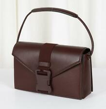 CHRISTOPHER KANE $1730 Brown SAFETY BUCKLE Flap Satchel Shoulder Bag Handbag NEW