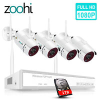 Zoohi 8CH Outdoor CCTV Wireless Security Camera System 1080P WiFi HDMI NVR 1TB