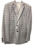 CALVIN KLEIN Grey Checked Single Breasted Blazer Size 42R