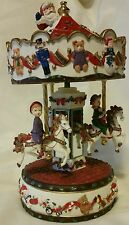 Vintage Carousel Christmas Santa Holiday Music Box Horses Children Peeking Santa