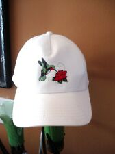 OTTO HUMMINGBIRD flower Embroidered Adjustable Hat Baseball Cap white green red