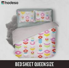 Hodeso Bedsheet Flowers Queen Size With Two FREE Pillow Case (pink)