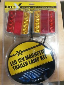 12v 10m Cable Magnetic LED Trailer Towing Lights Rear Tail Board Lamps Stop Tail