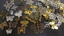 50g Mixed Design Tibetan Silver Butterfly Charms Pendants FREE 1st CLASS P/&P UK