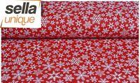 Baumwollstoff Meterware 0,5lfm 100% Baumwolle Schneeflocke Kristall Eis weiß rot