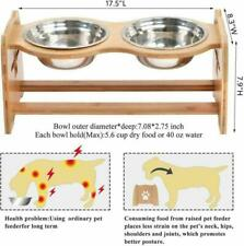 X-ZONE PET Raised Pet Bowls for Cats and Dogs, Adjustable Bamboo Elevated Dog Ca