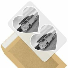 2 x Heart Stickers 10 cm - BW - Awesome Vintage Surf Van Surfing Cool  #41079
