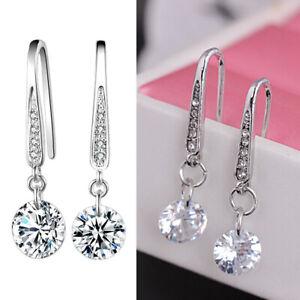 Long Drop Dangle Crystal Rhinestone Earrings Bridal Silver Wedding Love Jewelry