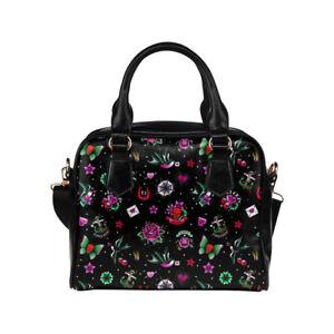 Black Retro Tattoo Ladies Small Handbag, Crossbody bag, Summer, Alternative