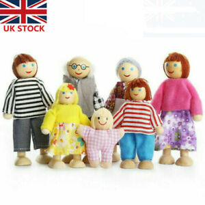 Wooden Family Dolls 7 People Set Furniture House Miniature Doll Toys For Kids