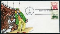1988 16.7c POPCORN WAGON FDC GEERLINGS HAND-PAINTED CACHET (de967)