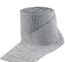 Huji Diamond Silver Rhinestone Mesh Ribbon Wrap for Wedding Cake Party Supplies