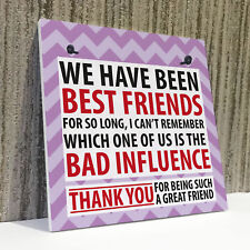 Best Friend Bad Influence Family Friendship Gift Hanging Plaque Christmas Sign