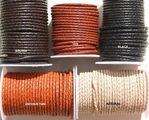 BRAIDED Leather cord 3MM Thick Rounded ,  Plated Leather - Thong - Cord - Lace -