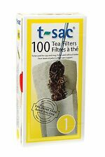 T-Sac Set of 100 Tea Filter Bags, Disposable Tea Infuser, Size 1