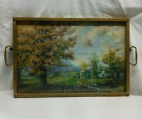 Vtg Metal Frame Serving Tray Watercolor Country Cottage Picture Print handles