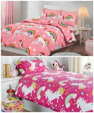 Unicorn Kids Girls Pink Single Duvet Quilt Cover Bedding Set or Fitted Sheet