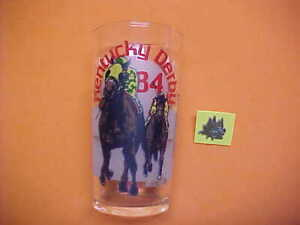 1984 Kentucky derby glass with derby festival pin  Mint condition