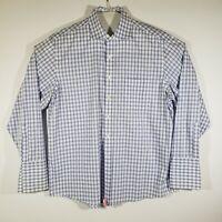 Donald Trump Signature Men's Dress Shirt 17.5x34/35 Blue/White Plaid French Cuff