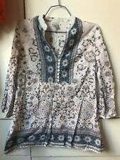 White With Blue Brown Boho Floral Print Hippie Blouse Top-Size 8