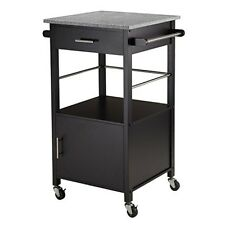 Winsome Davenport Ktichen Cart W/Granite Top Black 20023 Kitchen Cart NEW