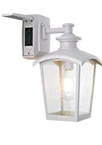 Spence 1-Light Outdoor Wall Lantern with Seeded Glass&Built-In GFCI Outlet,White