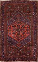 Vintage Tribal Geometric Hamedan Area Rug Wool Oriental Hand-Knotted 4x7 Carpet