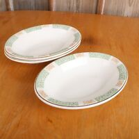 3 VTG Homer Laughlin Green Scroll Border Oval Serving Bowl Dish