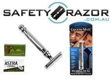 Parker 98R Safety Razor, 10 DE Razor Blades and Groom Mate Pack