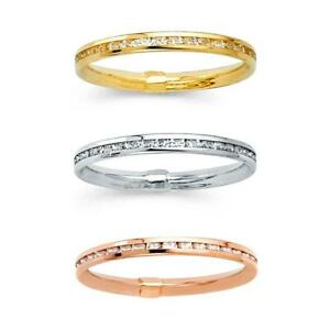 14K Yellow White Rose Gold CZ Channel Eternity Wedding Band Ring 2mm Size 5-9