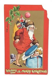 Wishing You A Merry Christmas Santa Ripped Posted Written On Postcard E517