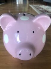 RARE Elegant Baby Classic Piggy Bank, Pink with White Polka Dots