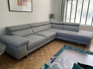 Natuzzi Massa Levante Light Grey Fabric Corner Sofa