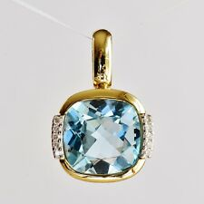BLUE TOPAZ PENDANT GENUINE DIAMONDS 2 TONE 14K 585 GOLD LARGE PRETTY TOPAZ NEW