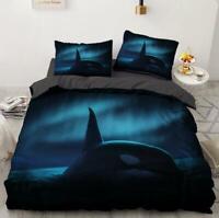 3D Dark Night Killer Whale KEP6427 Bed Pillowcases Quilt Duvet Cover Kay