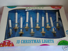 Vintage Radiant Christmas Tree Decoration Lights 10 String Clear Candles