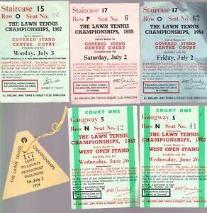 7 VINTAGE WIMBLEDON TENNIS TICKETS 1954 TO 1983