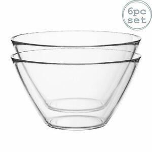6x Basic Glass Kitchen Mixing Bowls for Preparation Service 435ml