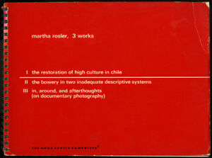 Martha Rosler: 3 Works. True 1st edition, Nova Scotia College of Art, 1981