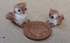 1:12 Scale Parent & Baby Dark Brown Owl Tumdee Dolls House Miniature Bird MN